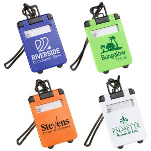 Luggage Tags, Blue, Lime Green, Orange & White