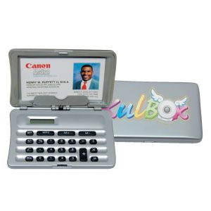 Silver Hand-held Calculator with Canon Business card