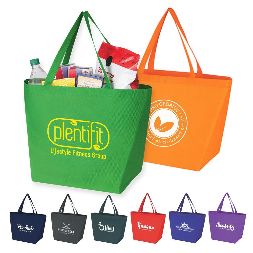 Green & Orange Grocery Totes