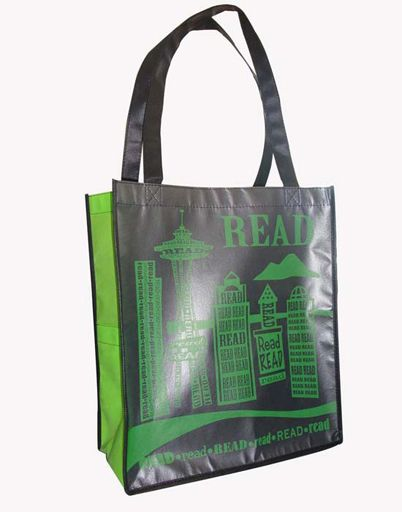 Green and black laminated Grocery Tote