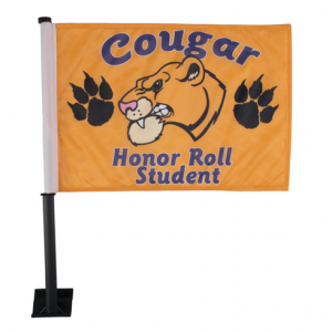 Yellow Car Flag - Courgar Honor Roll Student