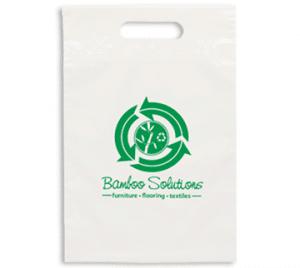 White Plastic Bag, Die Cut Handle, Eco Solutions Logo