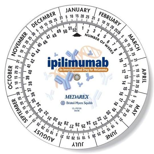 Full Colour Date Wheel Calculator with ipilimumab logo