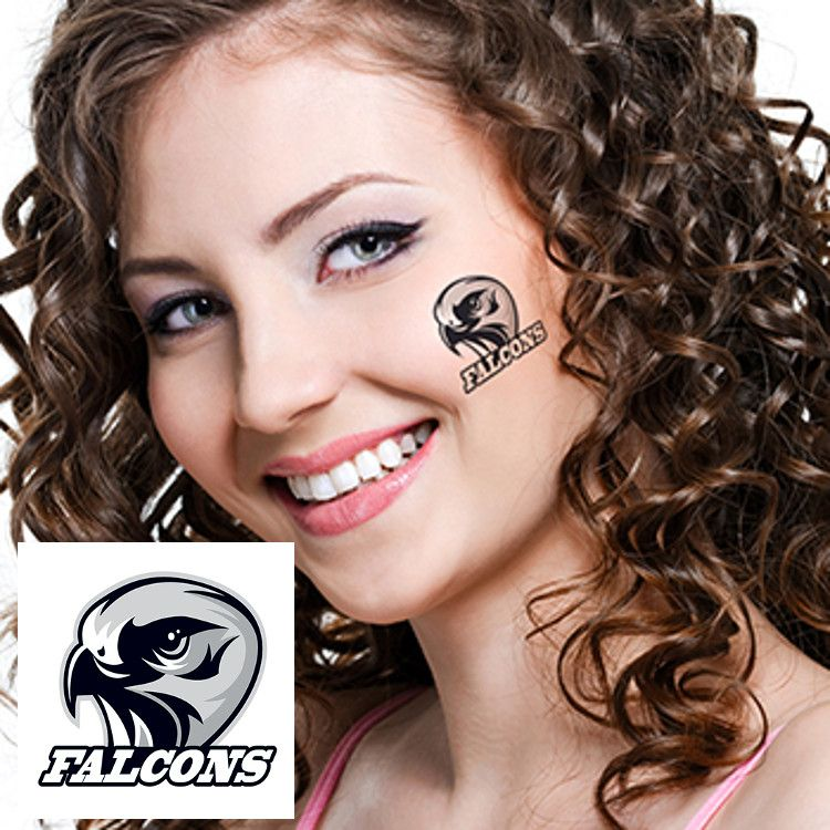Lady with Falcons Logo Tattood on Face