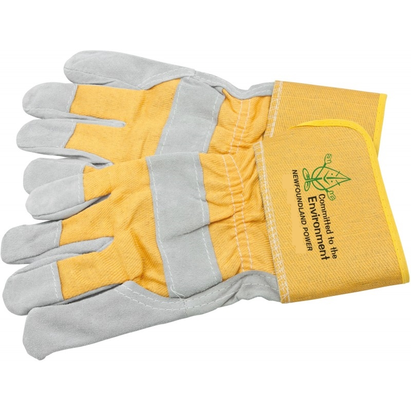 Cowhide Work Gloves with Newfoundland Power Logo Printed