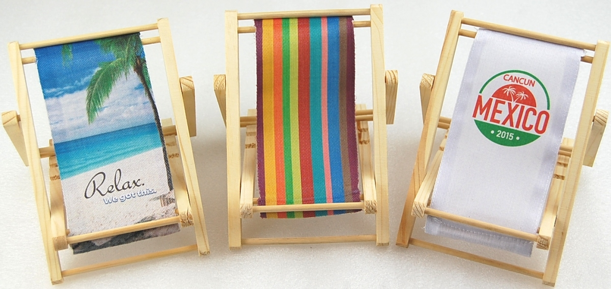 Wood Beach Chair Business Card Holder with full color imprint