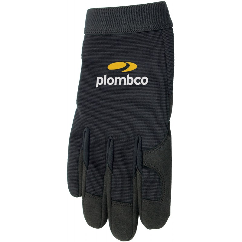 Black Mechanics Gloves with Printed Plomco Logo
