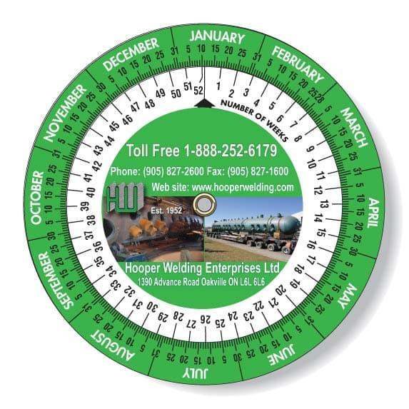 Full Colour Date Wheel Calculator with Hooper Welding Enterprises Printed