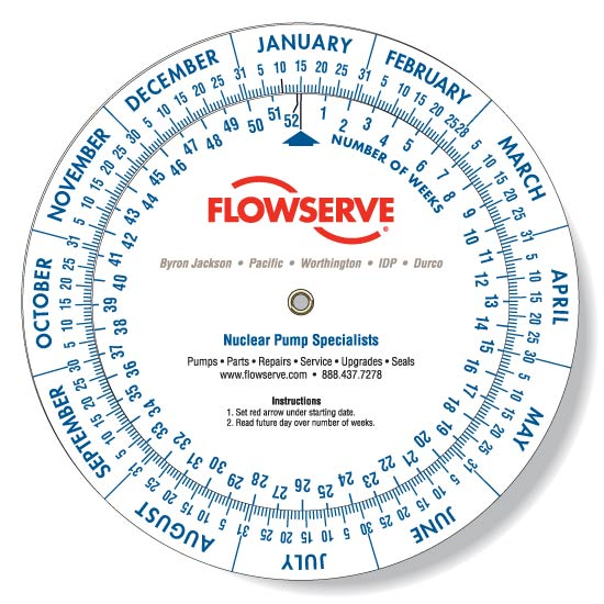 Date Wheel Calculator with FlowServe Logo