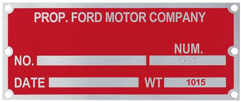 Printed Metal Plates - Ford Motor Company