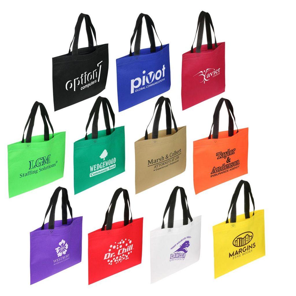 Custom Printed Horizontal Trade Show Tote Bags with Black Handle