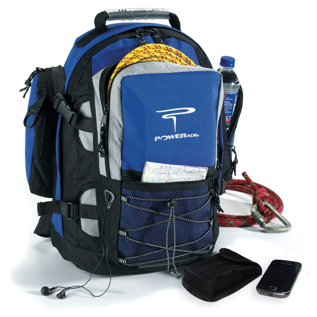 Good Value Royal Blue Promotional Backpack with Powerade logo.