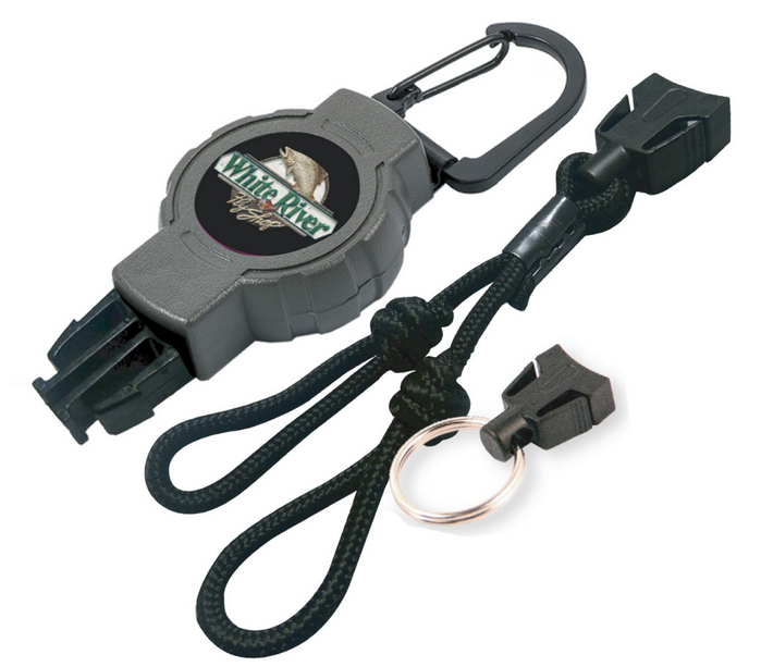 White River Fly Shop Retractable Game Call Reel with Carabiner and Split Ring