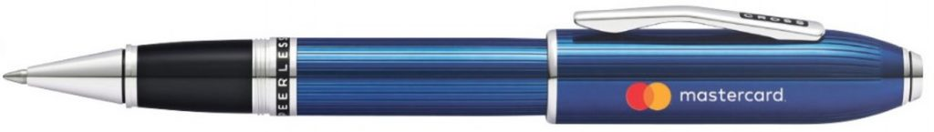 Blue Peerless 125 Rollerball Pen Printed with Mastercard Logo