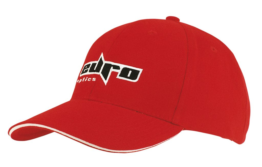 Red Euro Optics Cap with Embroidery