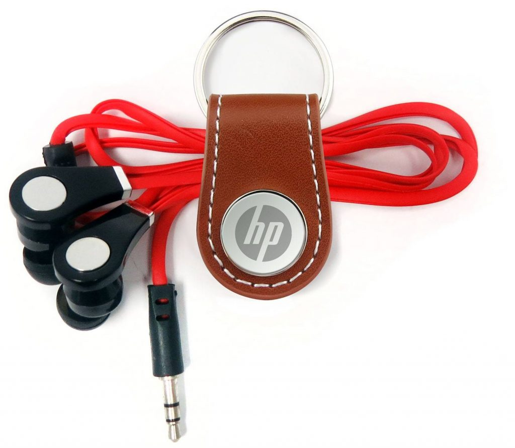 Faux Leather snap key Fob with earbuds