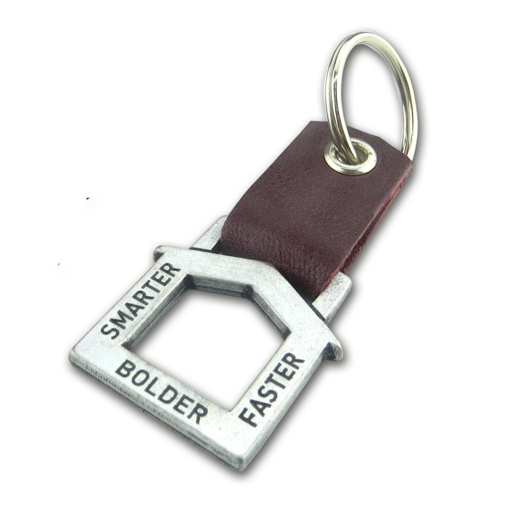 House Shaped cast zinc keychain with leather Keyring