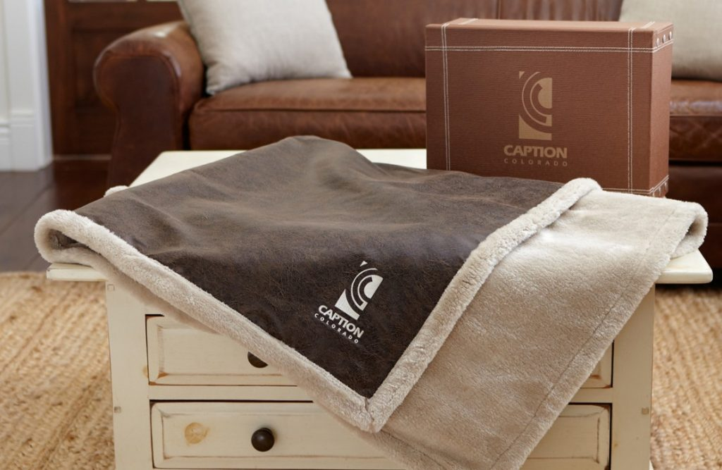 Caption Colorado Vintage Brown Blanket with Gift Box